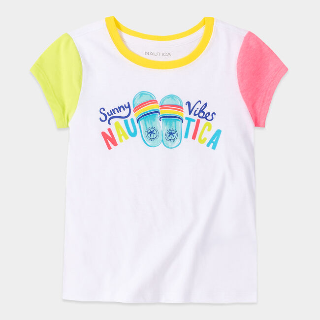 LITTLE GIRLS' COLORBLOCK SUNNY VIBES GRAPHIC T-SHIRT (4-7),Antique White Wash,large