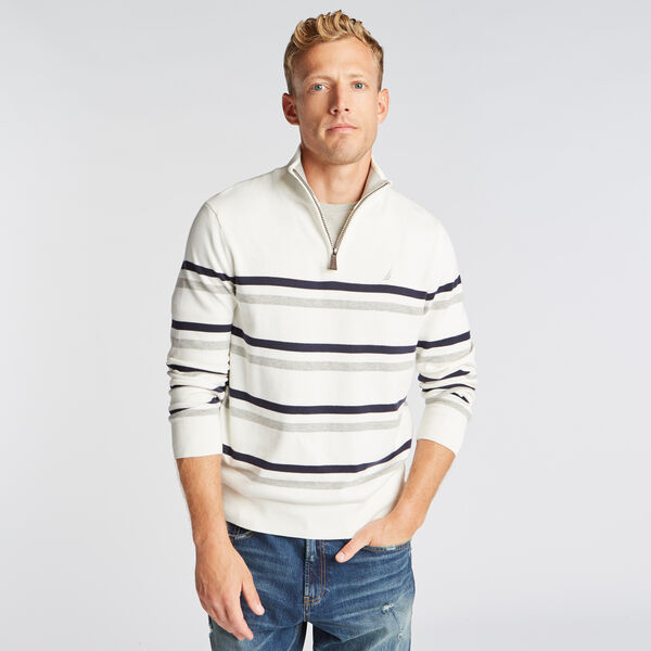 QUARTER ZIP BRETON STRIPED SWEATER - Marshmallow