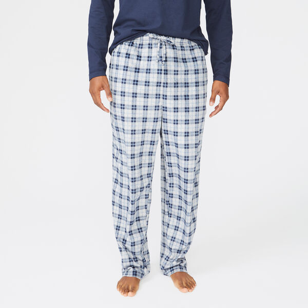 PLAID SUEDED FLEECE SLEEP PANT - Navy