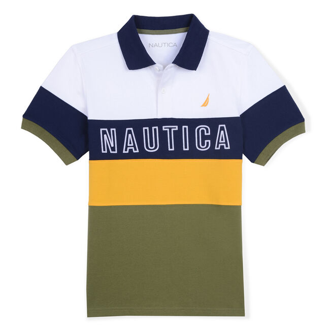 Little Boys' Luther Heritage Polo in Block Stripe (4-7),Lakeside Green,large