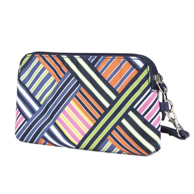 DOUBLE ZIP AROUND WRISTLET WITH CHARGER,Ice Blue,large