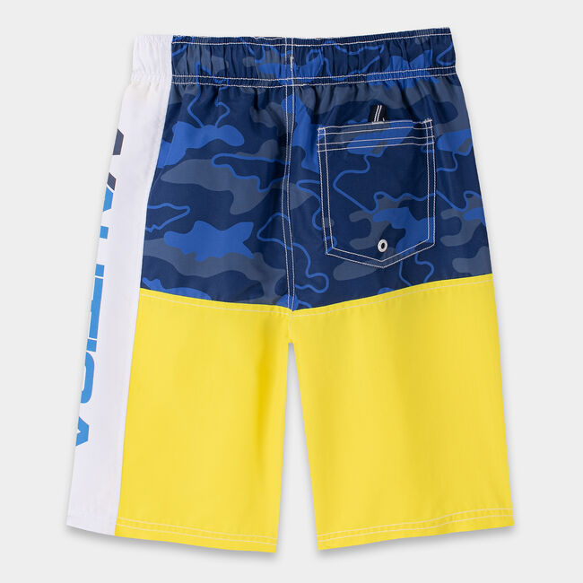 BOYS' ZACH CAMOUFLAGE LOGO SWIM TRUNK (8-20),Marigold,large