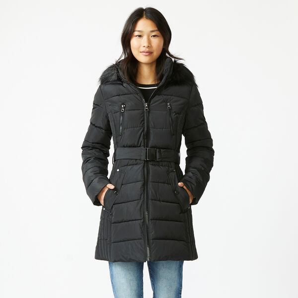 FAUX FUR TRIM HOODED BELTED PUFFER COAT - True Black