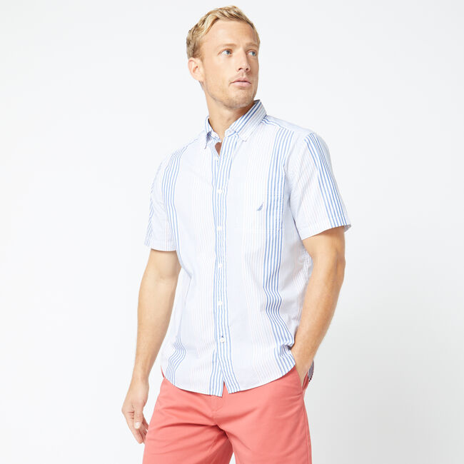 CLASSIC FIT VERTICAL STRIPE SHIRT,Bright White,large
