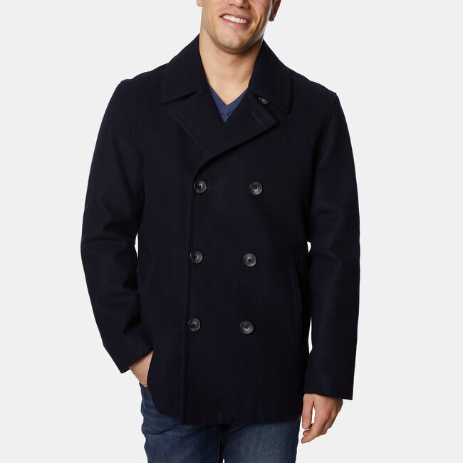 Wool-Blend Double-Breasted Peacoat,Navy,large