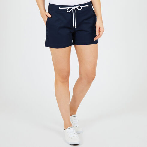 """Drawstring-Front Solid Stretch Shorts - 4"""" Inseam - Deep Sea"""