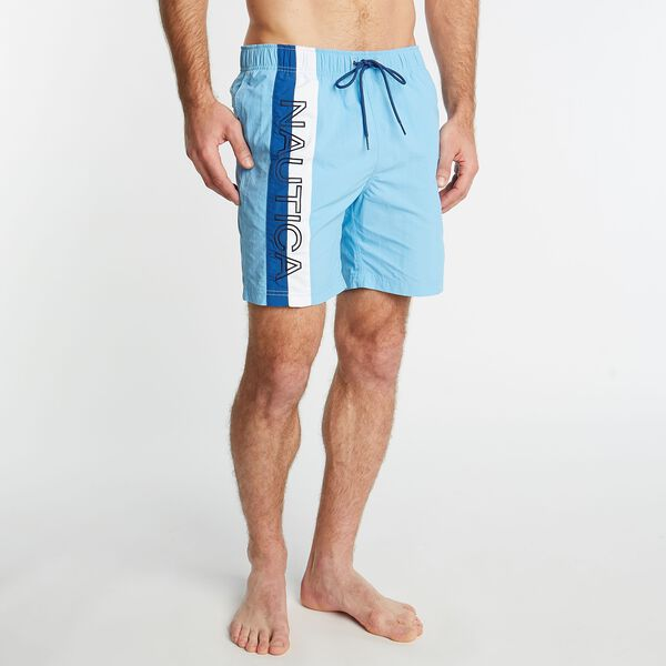 BIG & TALL SURFWASHED COLORBLOCK SWIM TRUNKS - Alaskan Blue