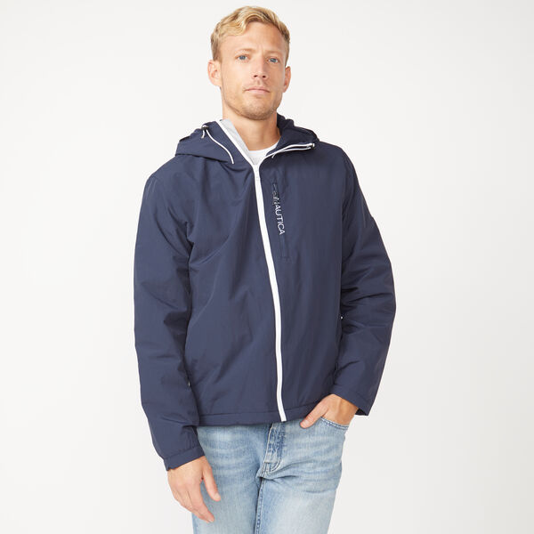 FLEECE LINED HOODED JACKET - Navy