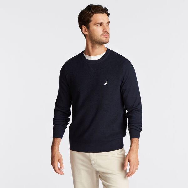 NAVTECH RIBBED FRONT SWEATER - Navy