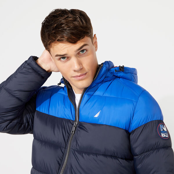 PUFFER JACKET WITH REMOVABLE HOOD - Admiral Blue