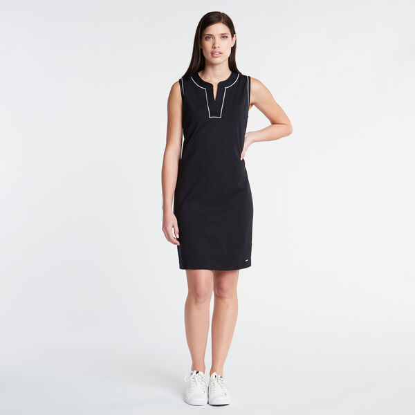 Embroidered Ponte Sheath Dress - True Black