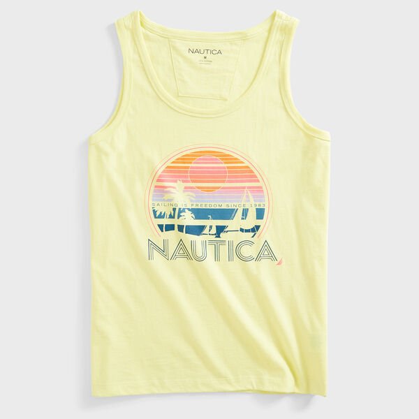 PALM TREE GRAPHIC TANK TOP - Dusty Honey Gold