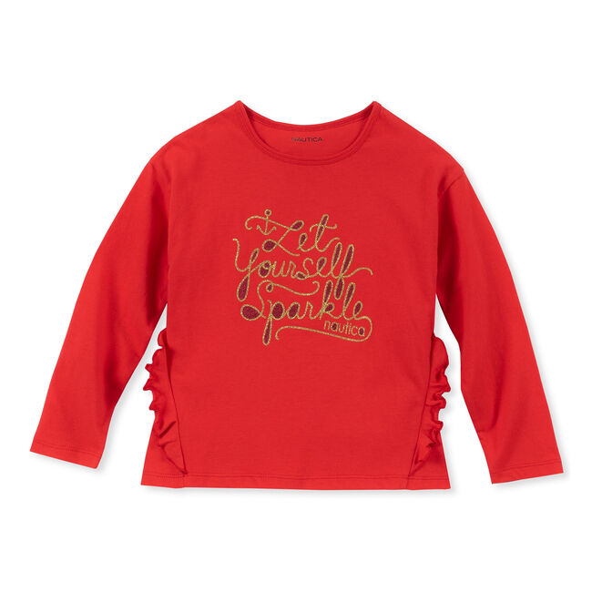 Little Girls' Let Yourself Sparkle Long Sleeve Tee (4-6X),Nautica Red/Orange,large