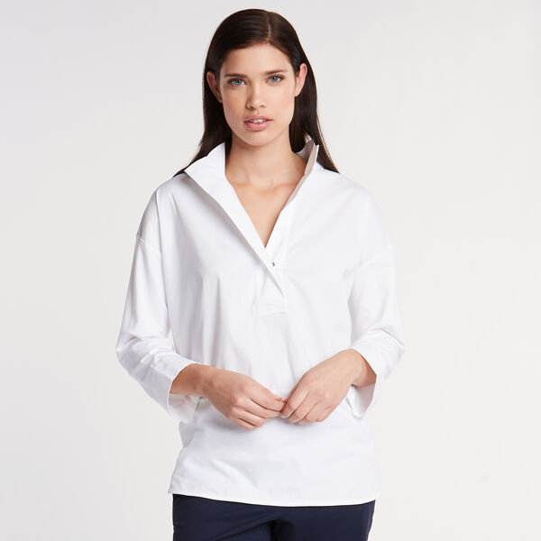 Classic Fit Mixed Media Shirt - Bright White