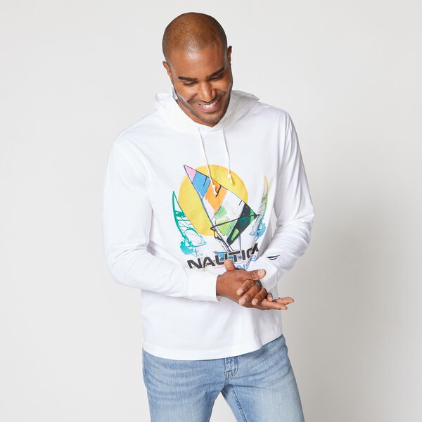 LOGO WINDSURFING GRAPHIC HOODIE - Bright White