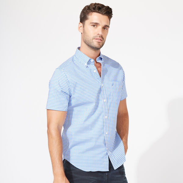 Wrinkle-Resistant Short Sleeve Classic Fit Shirt in Gingham - Rolling River Wash