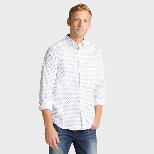 CLASSIC FIT WRINKLE RESISTANT SHIRT IN MINI PRINT - Bright White