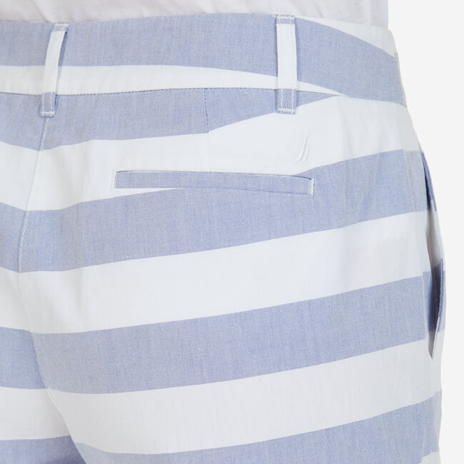 "Double-Button Striped Chambray Shorts - 7"" Inseam,Bright White,large"