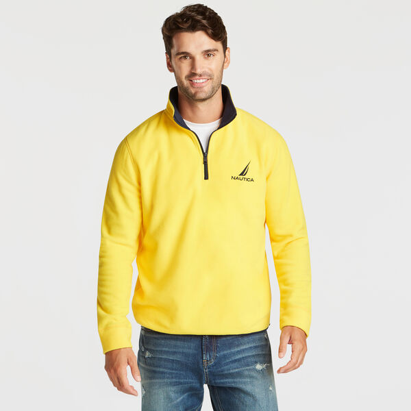 QUARTER ZIP NAUTEX FLEECE PULLOVER - Lemon Chrome