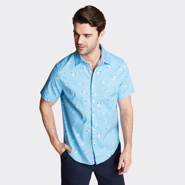 CLASSIC FIT SHORT SLEEVE OXFORD SHIRT IN PRINT - Silver Lake Blue