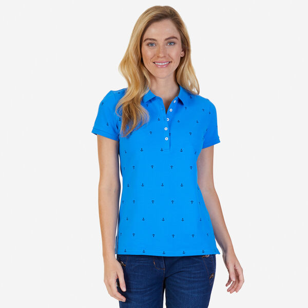 Anchor Motif Classic Fit Polo - Naval Blue
