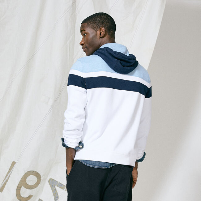 COLORBLOCK PULLOVER HOODIE,Bright White,large