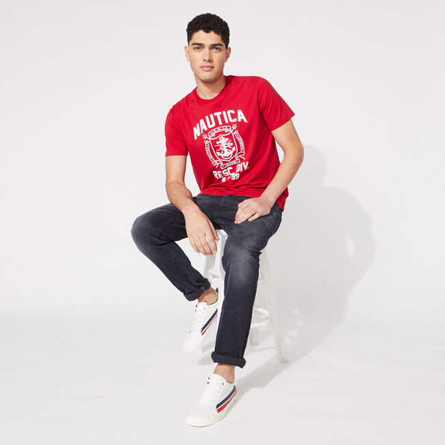 NAUTICA JEANS CO. GRAPHIC T-SHIRT,Nautica Red,large