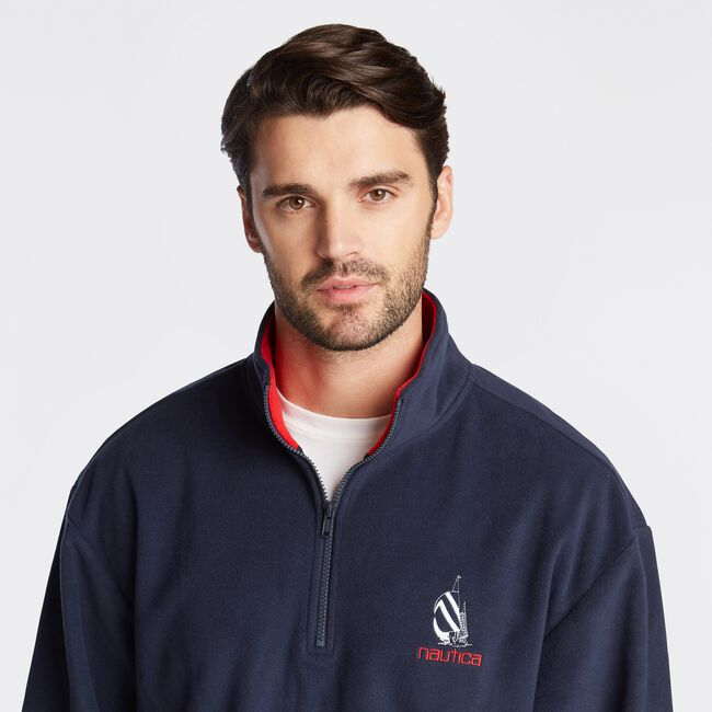 LIMITED EDITION SPINNAKER QUARTER ZIP FLEECE,Pure Dark Pacific Wash,large