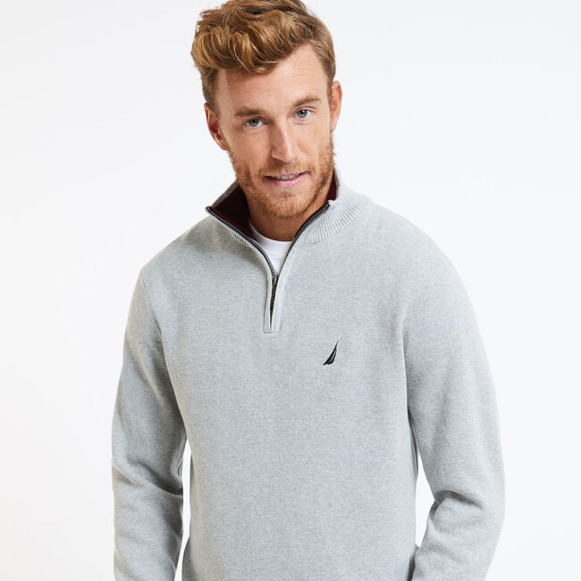 Long Sleeve Quarter-Zip Sweater,Grey Heather,large