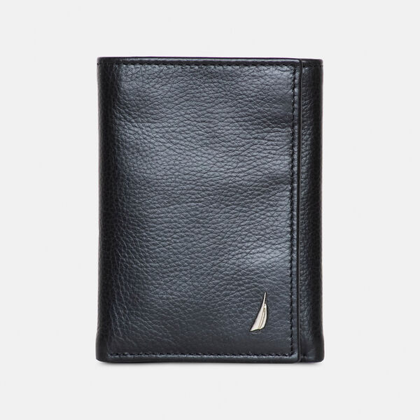 LEATHER TRIFOLD WALLET  - Light Grey
