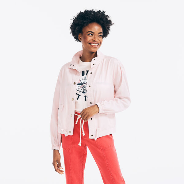 SUSTAINABLY CRAFTED MOCK-NECK LIGHTWEIGHT JACKET - New Pink
