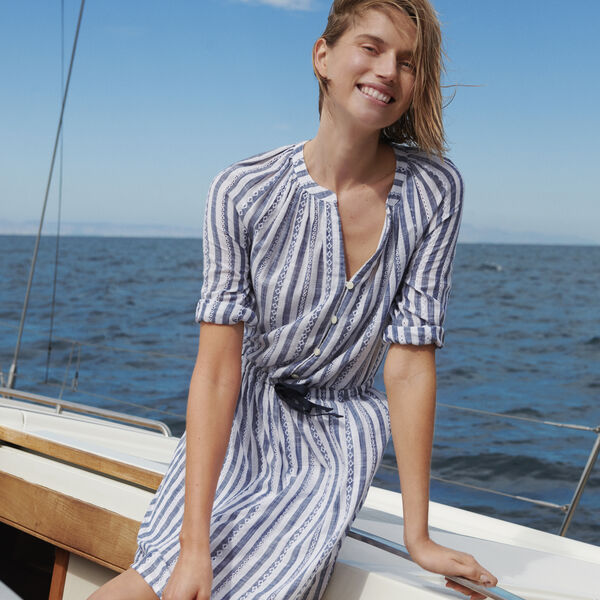 NAUTICA JEANS CO. EYELET STRIPED DRESS - Deep Navy Heather