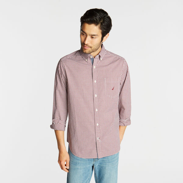 CLASSIC FIT POPLIN SHIRT IN GINGHAM - Zinfandel