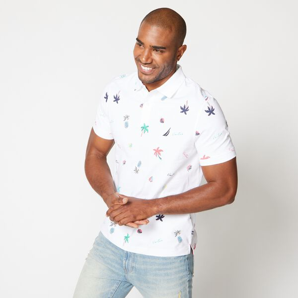 PREMIUM COTTON TROPICAL PRINT POLO - Bright White