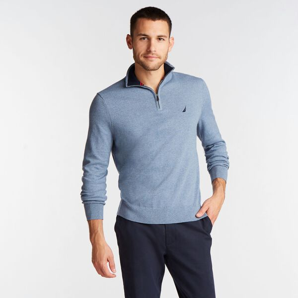 BIG & TALL QUARTER NAVTECH SWEATER - Gulf Coast Blue
