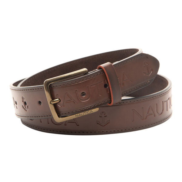 LOGO EMBOSSED BELT IN BROWN - Brown Stone