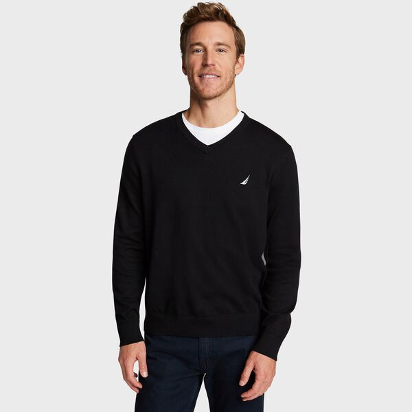 BIG & TALL V-NECK NAVTECH SWEATER - True Black