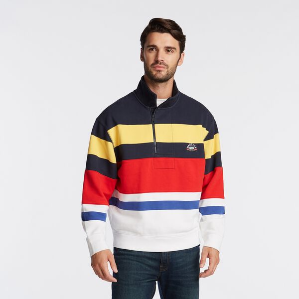 LIMITED EDITION COLORBLOCK STRIPE QUARTER ZIP - Navy