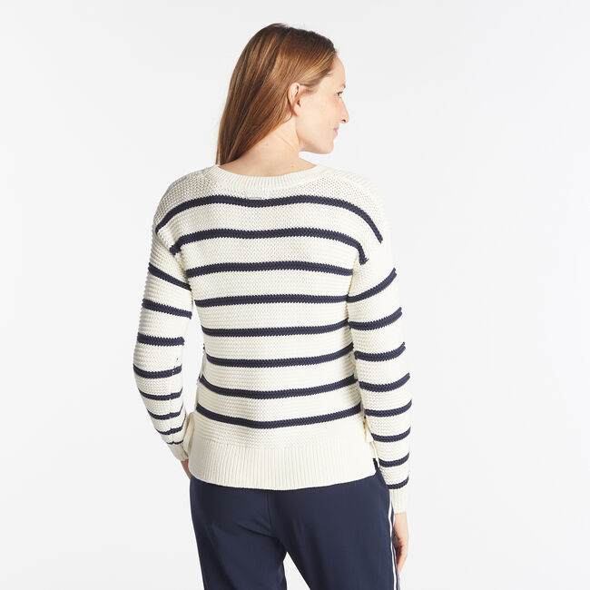 SIDE LACE UP STRIPED SWEATER ,Marshmallow,large