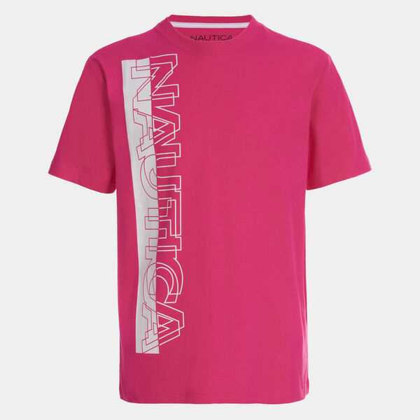 BOYS' VERTICAL LOGO GRAPHIC T-SHIRT (8-20) - Hot Pink