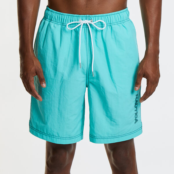 "8"" SOLID EMBROIDERED LOGO SWIM TRUNKS - Pool Side Aqua"