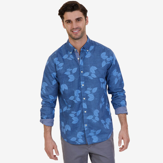 Tropical Leaf Classic Fit Poplin Button Down,Peacoat,large