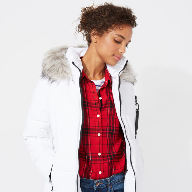 WOMEN'S QUILTED PUFFER COAT ,Bright White,large