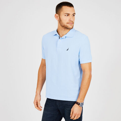 Short Sleeve Classic Fit Performance Deck Polo - Washed Navy Heather
