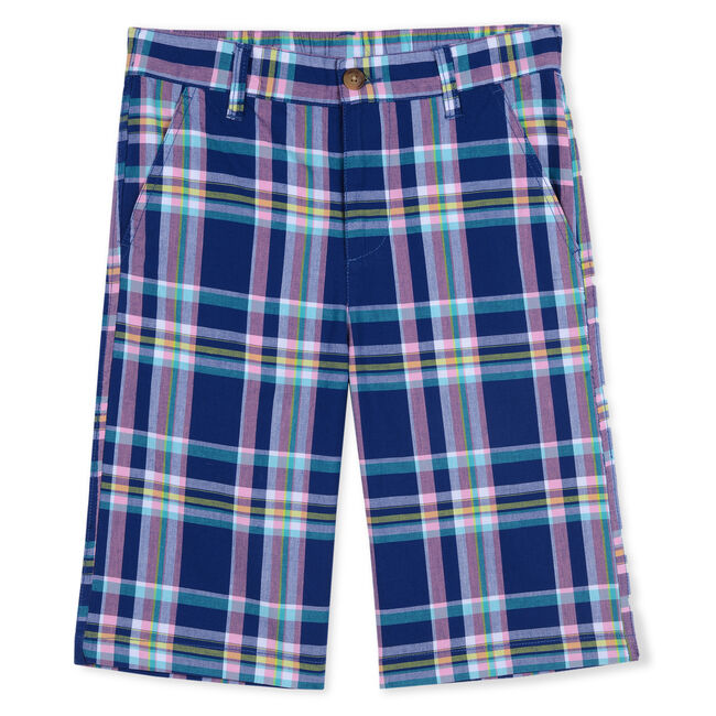 BOY'S PLAID TWILL SHORTS,Harbor Mist,large