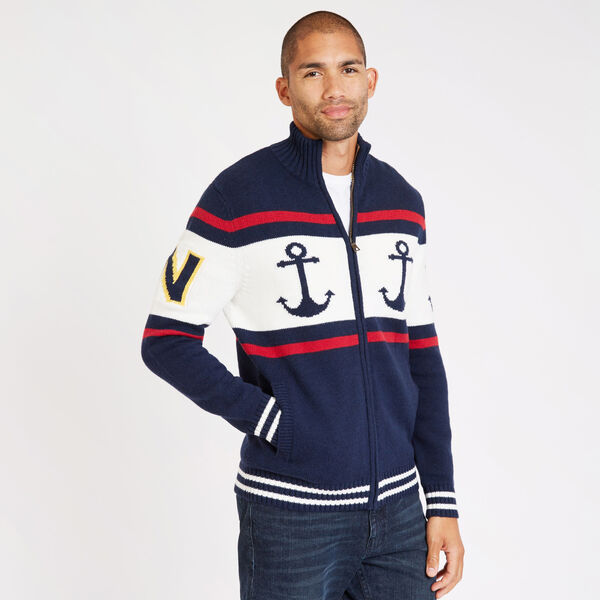 Full-Zip Fairisle Anchor Cardigan - Navy