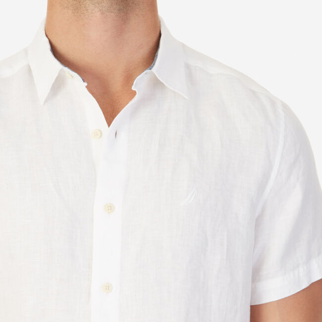 Solid Linen Short Sleeve Classic Fit Shirt,Bright White,large