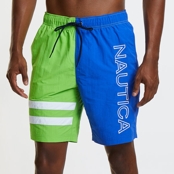 Heritage Swim Trunk in Colorblock - Fresh Lime