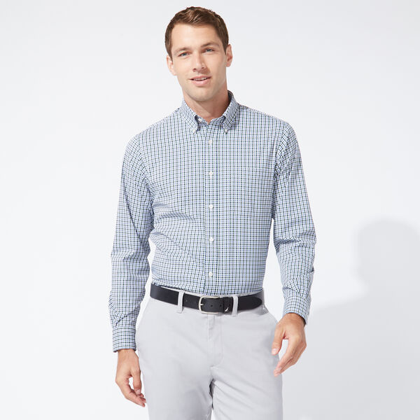 CLASSIC FIT PERFORMANCE TECH SHIRT IN NAVY CHECK - Ballard Blue