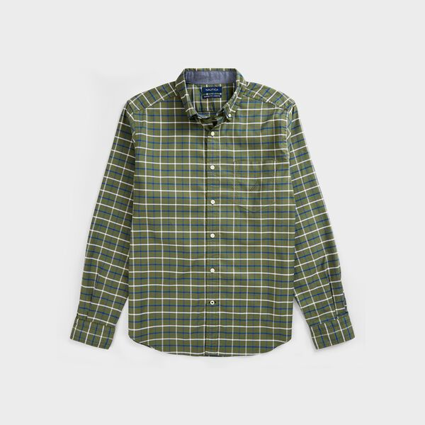 BIG & TALL CLASSIC FIT PLAID OXFORD SHIRT - Everglades Green